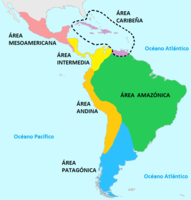 Cultural areas of South and Central America prior to European contact, (in Spanish).