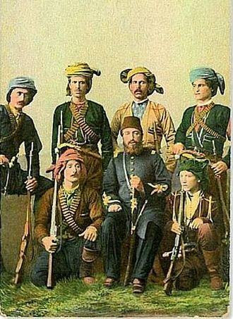 Fatsa - Ali Pasha of Çürüksu (front row, middle) and Ottoman Georgians during the  Russo-Turkish War (1877–78). At the end of the war, the re-settlement of Ottoman Georgians in Fatsa was supervised by Ali Pasha.