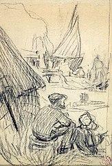 Scène dans un port de pêche breton