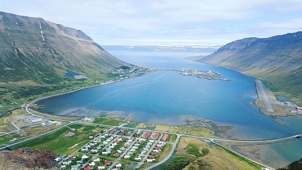 Capital town and pretty scenery of the Westfjords region, Isafjordur (Ísafjörður), calm harbor in the summer time