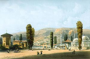 Bakhchysarai - The city in 1856, by Carlo Bossoli.