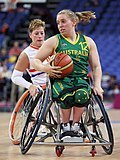 Shelley Chaplin in the match against the Netherlands