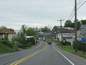 Pennsylvania Route 23 - Westbound PA 23 approaching US 322 in Blue Ball.