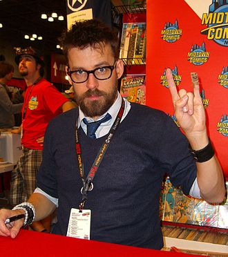 Matt Fraction - Fraction at the Midtown Comics booth at the New York Comic Con