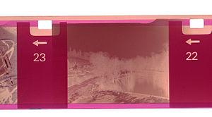110 film - Closeup of part of a 110 negative seen through a film scanner.