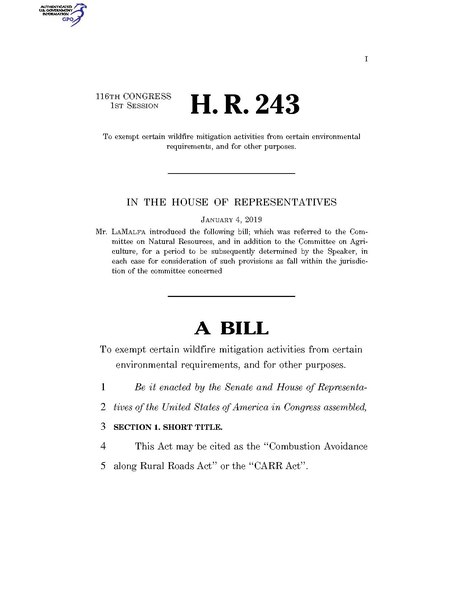 File:116th United States Congress H. R. 0000243 (1st session) - CARR Act.pdf