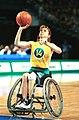 141100 - Wheelchair basketball Paula Coghlan shoots 2 - 3b - 2000 Sydney match photo.jpg