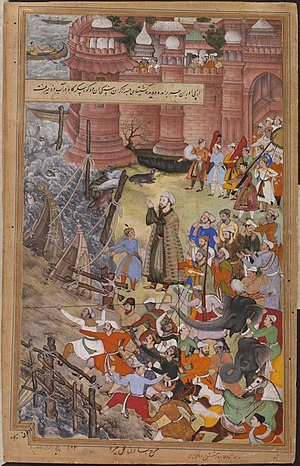 image of Akbar riding the elephant Hawa'I pursuing another elephant (Ran Bagha) across a collapsing bridge of boats, 1561 from the Akbarnama