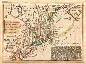 King's Highway (Charleston to Boston) - 1729 map of New England, New York, New Jersey, and Pennsylvania by C. Moll with inset describing the postal system