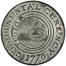 1776 Continental Currency dollar coin obverse.jpg