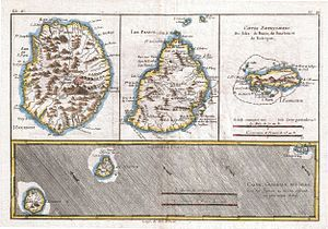 1780 map of Reunion, Mauritius, and Rodrigues