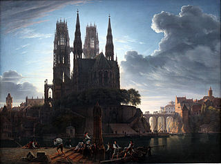 Gothic Cathedral by a River