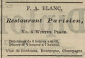 1864 F A Blanc advert Restaurant Parisien Winter Place Boston.png