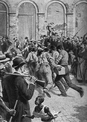 Anti-Italianism - Rioters breaking into Parish Prison. Anti-Italian lynching in New Orleans, 1891