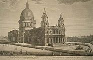 18th century view of St Paul's by J.M. Mueller