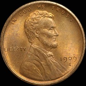 Lincoln cent - 1909 S Lincoln cent.