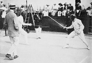 George S. Patton - Patton (at right) fencing in the modern pentathlon of the 1912 Summer Olympics