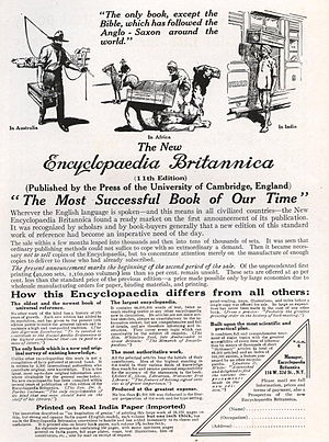 History of the Encyclopædia Britannica - Advertisement for Encyclopædia Britannica, 1913