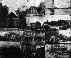 A collage of several damaged buildings in the Houston area.