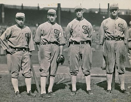 The 1919 Chicago White Sox outfield 1919-Chicago-Black-Sox-Outfield-by-Charles-Conlon.jpg