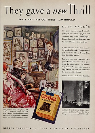 Old Gold (cigarette) - Ad for Old Gold cigarettes, featured in the September 1930 Motion Picture Magazine