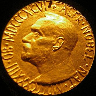 Nobel Peace Prize - Obverse of the Nobel Peace Prize Medal presented to Sir Ralph Norman Angell in 1933; the Imperial War Museum, London