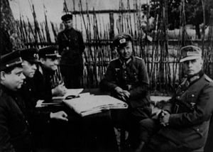 Alfons Hitter - Hitter (second from right) and corps commander Gollwitzer surrender to the Soviet forces.