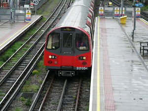 Northern line - A Northern line train arriving at Finchley Central.