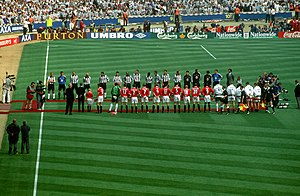 1999 FA Cup Final - The teams line up for the national anthem and presentations ahead of the final.