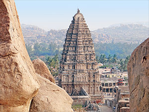 Virupaksha Temple, Hampi - Image: 1 Virupaksha temple Gopuram Hampi Vijayanagar India