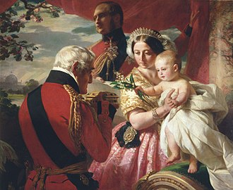Elizabeth II's jewels - Queen Victoria wearing the George III tiara in The First of May by Franz Winterhalter, 1851