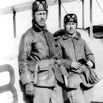 Edgar S. Gorrell - Gorrell (right) and 1st Lt. Herbert A. Dargue at Casas Grandes, Mexico, posing with S.C. No. 43 on April 11, 1916