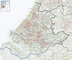 Highlighted position of Schiedam in a municipal map of South Holland