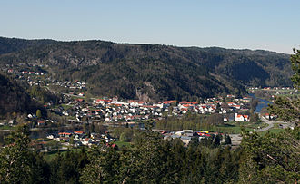 Vigeland, Norway - View of the village seen from Kongsknipen by Herstøl