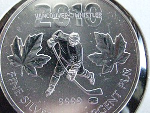 Royal Canadian Mint Olympic coins - 2010 Vancouver Olympics .9999 silver bullion maple leaf commemorative coin