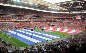 2011 Football League Cup Final - The starting line-ups being announced before kick-off