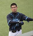 20120310 Taketosi Goto,infielder of the Yokohama BayStars, at Seibu Dom.JPG