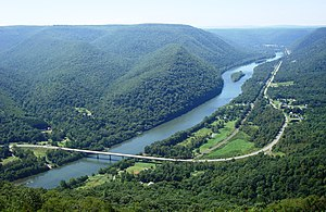 Hyner View State Park - View of the West Branch Susquehanna River valley, with Pennsylvania State Route 120 (the Bucktail Trail) crossing it, looking west-northwest from Hyner View State Park
