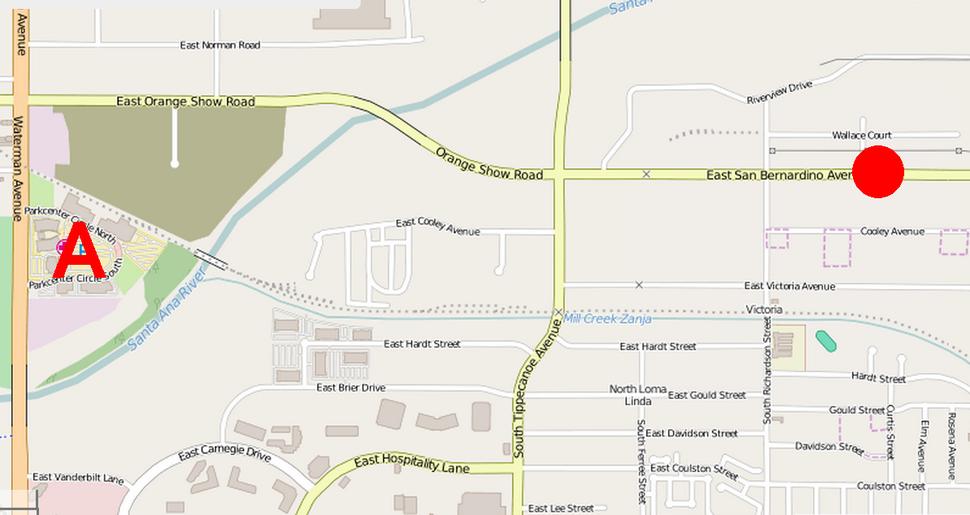 2015 San Bernardino shooting map showing site of shootout