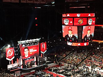 2017 NHL Entry Draft - The stage after Hischier was selected first-overall by the New Jersey Devils.