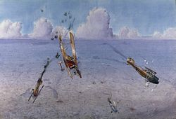 An aerial view of a dogfight between one British and three German aircraft. To the left one plane plummets streaming a trail of grey smoke behind. Below lies the faint outline of fields and lakes on the ground.