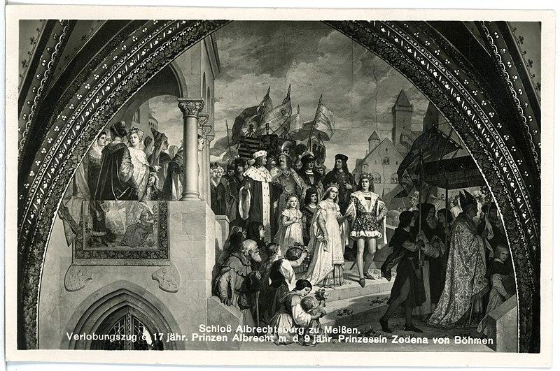 File:26065-Meißen-1933-Albrechtsburg, Verlobungszug des Prinzen Albrecht-Brück & Sohn Kunstverlag.jpg