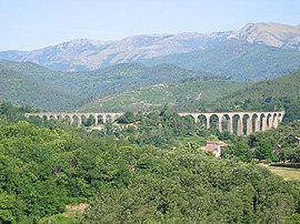 Viaduct of Chamborigaud, with Mont Lozère in the background.