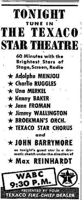 Texaco Star Theatre - An advertisement for the October 12, 1938, Texaco Star Theatre.