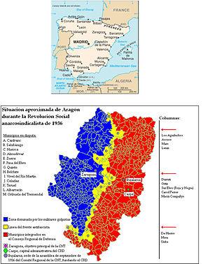 posición de las formaciones anarquistas en el frente aragonés;Huescase destaca en el mapa, un área de lucha dura, donde cayó Cieri
