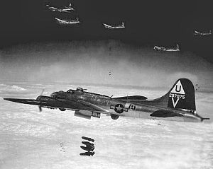 """RAF Glatton - B-17s of the 457th Bomb Group attacking a target. Aircraft in foreground is Boeing B-17G-40-BO Fortress Serial 42-97075 """"Flak Dodger"""" of the 750th Bomb Squadron. This plane survived the war and returned to the USA in June 1945."""