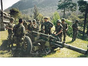 Arkansas Army National Guard and the Global War on Terrorism - Members of Battery B, 5th Battalion, 206th Field Artillery train with a Honduran Army artillery section in June 1990