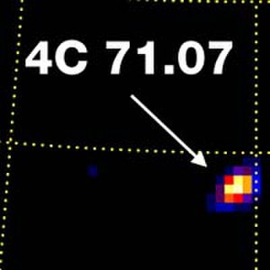 Astrophysical X-ray source - A view of 4C 71.07 from observations by the Burst and Transient Source Experiment. This helped convince scientists that they were studying data from the quasar and not some other source in the neighborhood.