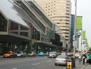 XVI International AIDS Conference, 2006 - Banners of the AIDS 2006 conference could be found along many streets near the conference centre. Shown here is Front Street, just outside the conference centre.