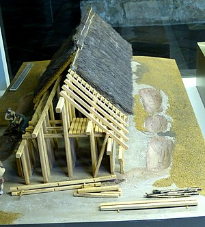 Neolithic long house - Kelheim (Lower Bavaria). Archaeological Museum: Reconstruction of a settlement of the Linear pottery culture ( 5th millennium BC ) from Hienheim